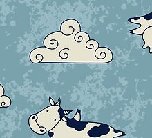Funny cows flying sky with clouds cartoon by majuli1990