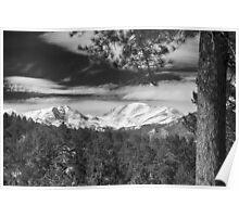 Colorado Rocky Mountain View Black and White Poster