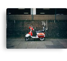 Red and white scooter Canvas Print