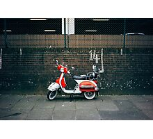 Red and white scooter Photographic Print