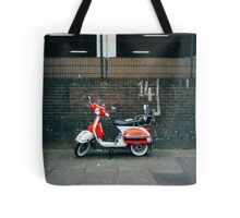 Red and white scooter Tote Bag