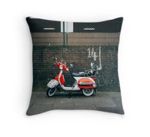 Red and white scooter Throw Pillow