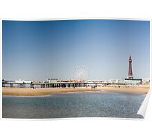Blackpool Tower and central pier Poster
