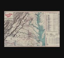 Civil War Maps 1076 Map showing the location of battle fields of Virginia Kids Tee