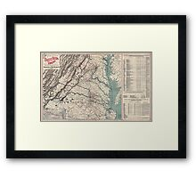 Civil War Maps 1076 Map showing the location of battle fields of Virginia Framed Print
