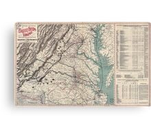 Civil War Maps 1076 Map showing the location of battle fields of Virginia Canvas Print