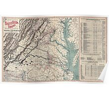 Civil War Maps 1076 Map showing the location of battle fields of Virginia Poster