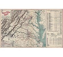 Civil War Maps 1076 Map showing the location of battle fields of Virginia Photographic Print