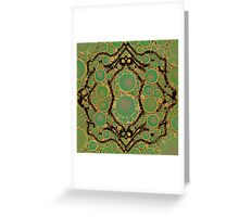 Elephant Quadrille in green Greeting Card