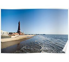 Blackpool beach and Tower Poster