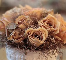 Dried Roses Flower Arrangement  by Sandra Foster