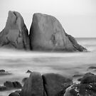 Grants Point Rocks B&W - Humbug Point, Tasmania by clickedbynic