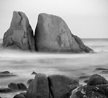 Grants Point Rocks B&W - Humbug Point, Tasmania by clickedbynic