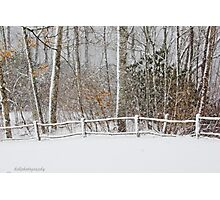 Snow on the fence  Photographic Print