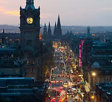 Princes Street Edinburgh at night by photoeverywhere