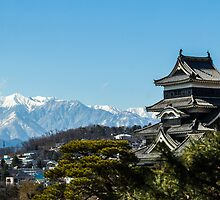 Matsumoto - Castle with the Alps on the background. by Quentin Jarc