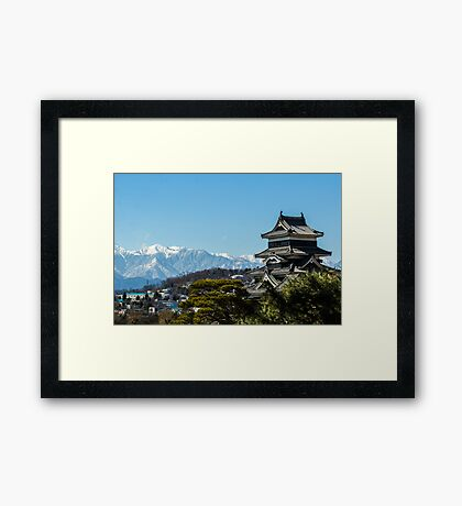 Matsumoto - Castle with the Alps on the background. Framed Print