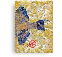 Gyotaku - Triggerfish - Oldwench -  Diptych 2  Canvas Print