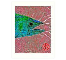 Gyotaku- Spanish Mackerel- Bubble Gum Pink Art Print