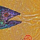 Gyotaku- Spanish Mackerel- Bright  Yellow Unryu Paper by IslandFishPrint