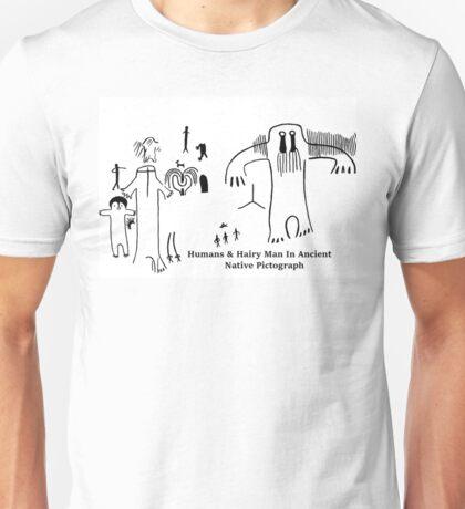 Human & Hairy Man Pictographs Unisex T-Shirt