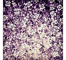 FLOWER POWER IN MIDNIGHT VIOLET - Pretty Feminine Abstract Ombre Acrylic Painting Floral Flowers Plum Purple EggplantPattern Photographic Print