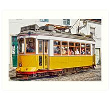Yellow Electric Trolly of Lisbon Art Print