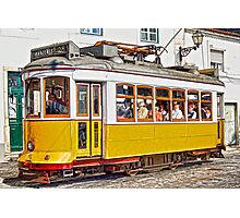 Yellow Electric Trolly of Lisbon Photographic Print