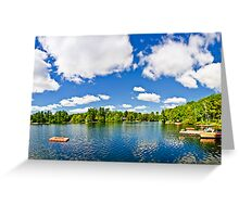 Cottage lake with diving platform and dock Greeting Card