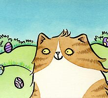 Cat with Colourful Easter Eggs by zoel