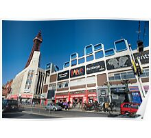Busy street scene in Blackpool Poster