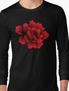 Red Japanese Peony Flower Long Sleeve T-Shirt