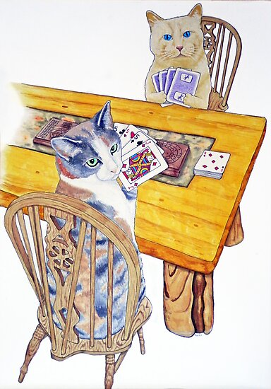 Cats playing Cribbage by StephenLTurner