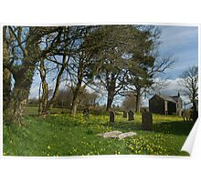 Country village churchyard Poster
