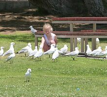Feeding the Silver Gulls, Foreshore, Semaphore. Sth. Aust. by Rita Blom