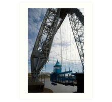 The gondola on Newport Transporter bridge Art Print