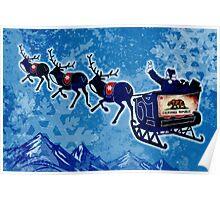California flag Christmas Santa sleigh Poster