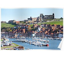 Whitby upper harbour and abbey ruins Poster