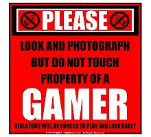 Please Do Not Touch Property Of A Gamer Photographic Print