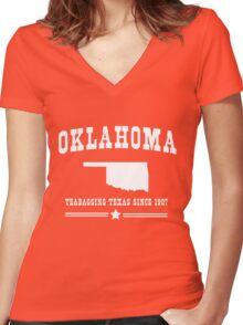 Oklahoma. Teabagging Texas Women's Fitted V-Neck T-Shirt