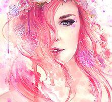 Pink Floral Watercolor Portrait by Julia Blattman