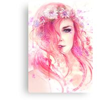Pink Floral Watercolor Portrait Canvas Print