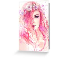 Pink Floral Watercolor Portrait Greeting Card