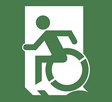 Accessible Means of Egress Icon Emergency Exit Sign, Left Hand by LeeWilson