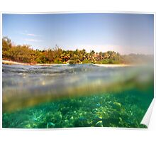 Above and below tropical island view Poster