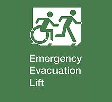 Emergency Evacuation Lift Sign, Right Hand, with the Accessible Means of Egress Icon and Running Man, part of the Accessible Exit Sign Project by Egress Group Pty Ltd