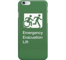 Emergency Evacuation Lift Sign, Right Hand, with the Accessible Means of Egress Icon and Running Man, part of the Accessible Exit Sign Project iPhone Case/Skin