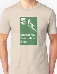 Emergency Evacuation Chair Sign, with the Accessible Means of Egress Icon, showing a person being assisted down a fire stairs, part of the Accessible Exit Sign Project Unisex T-Shirt