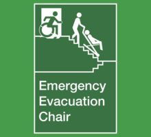 Emergency Evacuation Chair Sign, with the Accessible Means of Egress Icon, showing a person being assisted down a fire stairs, part of the Accessible Exit Sign Project Kids Clothes