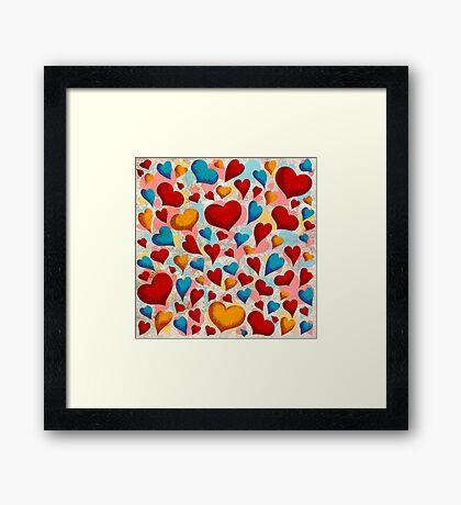 Coloured Hearts ♥ Framed Print
